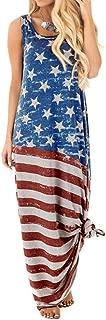 Respctful✿Summer Plus Size Sleeveless Women Casual Flag Print Off Shoulder V Neck Irregular Slit Long Dress Blouse Top