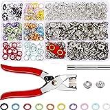 200 Sätze Druckknöpfe Spielanzug Snaps Craft Zangen Werkzeug Prong Schnalle Metall Ring Button Druckknöpfe Sewing Craft 9,5 mm, 10 Farben