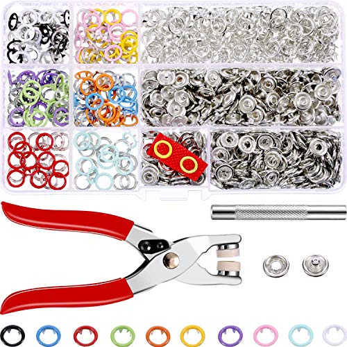 Jovitec 200 Sets Snap Fasteners Romper Snaps Craft Pliers Tool Prong Buckle Metal Ring Button Press Studs Sewing Craft 9.5 mm, 10 Colors