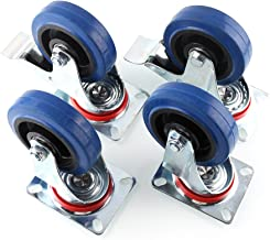 Mvpower Rubber Casters, 4 Pack Casters Heavy Duty 4 Inch Pneumatic Caster wheels with 360 Degree Polyurethane Wheels No Noise Wheels Top Plate Casters ( 2 with Brake 2 Fixed Plate ) -Blue
