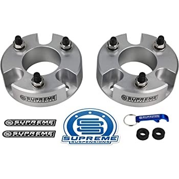 """Supreme Suspensions - Front Leveling Kit for 2005-2020 Nissan Frontier and 2005-2015 Nissan Xterra 3"""" Front Lift Aircraft Billet Strut Spacers Kit 2WD 4WD (Silver)"""