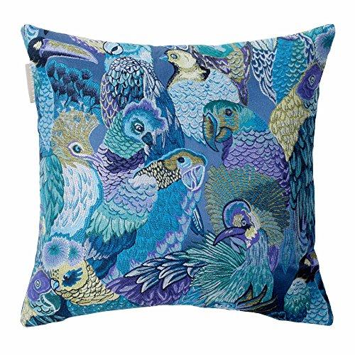 MADURA - Housse de Coussin JUNGLE BIRDS - Taille 40x40 cm - Couleur Bleu Vert