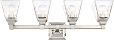 """Mencino Modern Wall Mount Light Satin Nickel Silver Metal Hardwired 28"""" Wide 4-Light Fixture Clear Glass Shade for Bathro"""