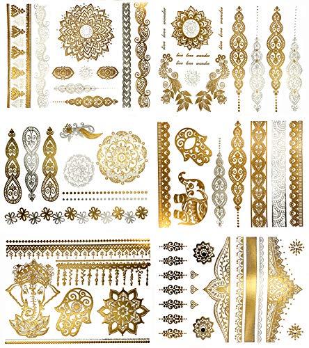 Premium Tattoos mit Metallic-Glanz - 75+ Mandala Klebe-Tattoos in Gold und Silber – Temporäre Tattoos in Schimmeroptik – Blumen, Elefanten, Armbänder & mehr (Jasmine Kollektion)
