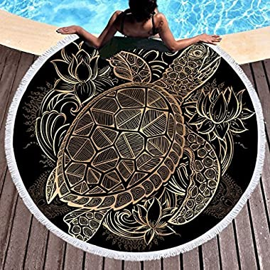 Sleepwish Gold Beach Towel, Round Beach Towel Blanket with Tassels, Boho Round Tapestry, Circle Beach Mats (Turtle Floral, 60 )