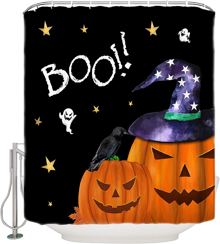 Max 70% OFF Futuregrace Max 79% OFF Farmhouse Shower Curtain Halloween Boo Ghost Pumpkin