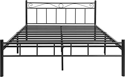 FurnitureKraft London Queen Size Metal Bed (Glossy Finish, Black)