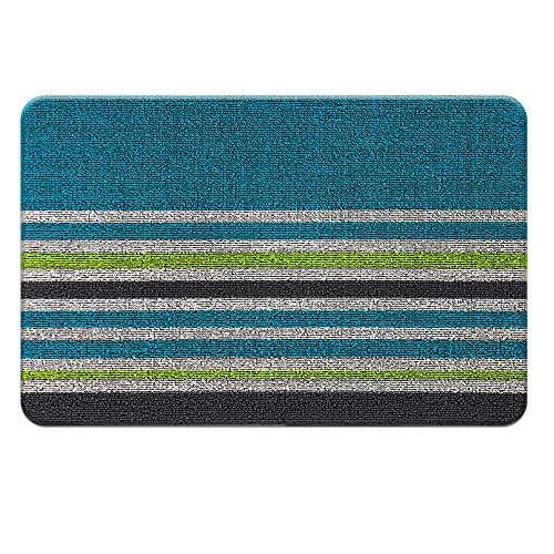 RECYCO Fußmatte Schmutzfangmatte Streifen-Design PVC Türmatte 40x60cm rutschfest Wasserdicht Türvorleger Fußabtreter für Innen Außen (Blau)