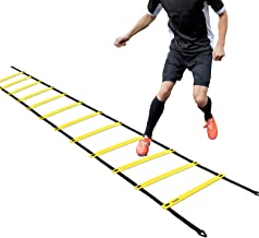Ohuhu Agility Ladder, Speed Training Exercise Ladders for Soccer Football Boxing Footwork Sports Speed Agility Training with Carry Bag,15ft 12 Rung,Yellow/Blue