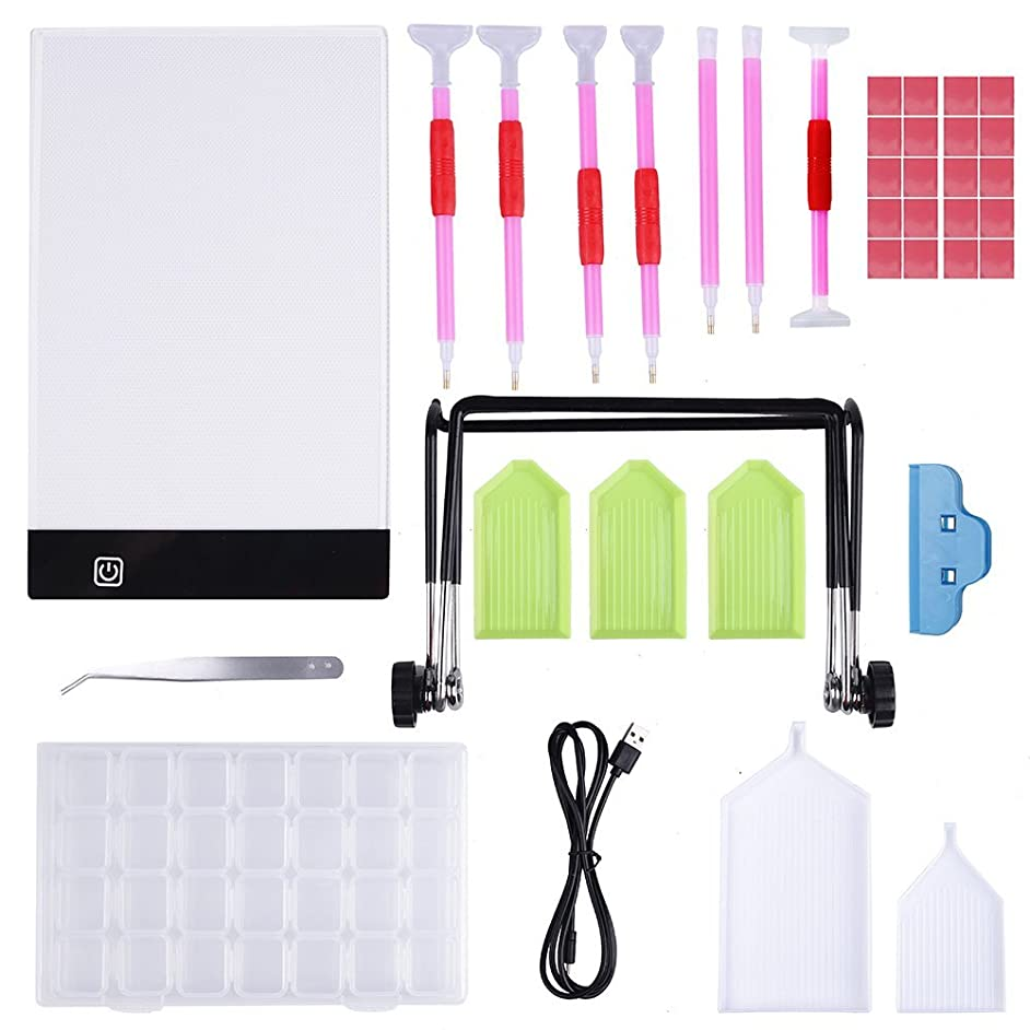 A5 LED Light Tablet Board Pad with Stander, Diamond Painting Pen Cross Stitch Tool Kit 37 Pieces for Artists Drawing Sketching Animation Stenciling and X-Ray Viewing DIY Art Craft