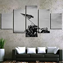 5 Paintings 5 Pieces Vintage Raising The Flag Iwo Jima Picture Painting Canvas Wall Art Home Decoration