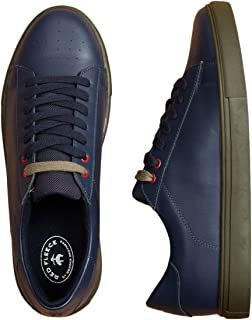 BROOKS BROTHERS Men's Color Contrast Leather Sneakers Navy 10.5 UK