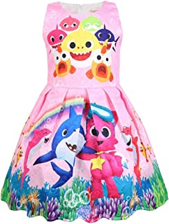 Coralup Toddler Girls Baby Shark Sleeveless Party Dress Casual Dresses(18M-6Y)