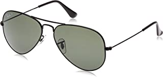 RB3025 Aviator Polarized Sunglasses, Black/Polarized Green, 58 mm