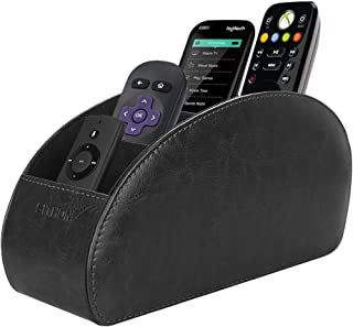 SITHON Remote Control Holder with 5 Compartments - PU Leather Remote Caddy Desktop Organizer Store TV, DVD, Blu-Ray, Media Player, Heater Controllers, Black