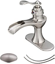 BWE Bathroom Faucet Brushed Nickel with Drain Assembly and Supply Line Lead-free Single Handle Bathroom Sink Faucet Waterfall Lavatory Mixer Tap Deck Mounted