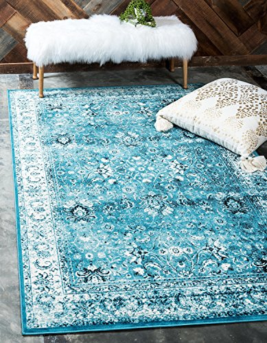 (59% OFF) Traditional Vintage Distressed Blue Area Rug $15.70 Deal