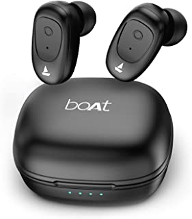 boAt Airdopes 201 True Wireless Earbuds with Up to 15H Total Playback, IPX4 Water Resistance, Secure Fit Earhooks, Immersi...