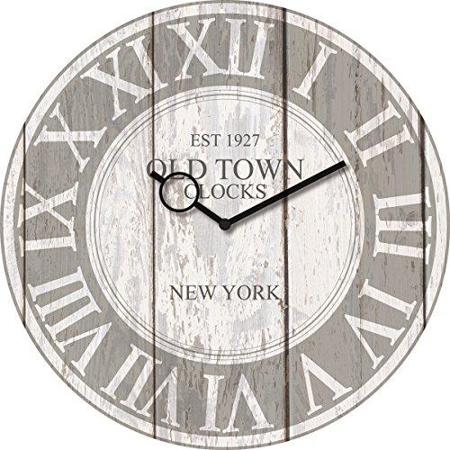 Wanduhr aus Glas, Vintage Clock, Holzoptik grau, römische Ziffern, 30x30 cm von Eurographics