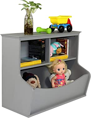 CAP LIVING Children Toy Storage Organizer, Open Storage Cubby, Multifunctional Book and Toy Storage Cabinet, Book and Toy Storage Shelf for Children, Espresso, Grey and White