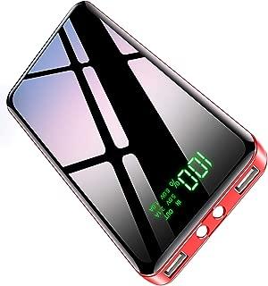 【2020最新版&PSE認証済】 モバイルバッテリー 大容量 25800mAh 急速携帯充電器 LEDライト機能 2USB出力ポート 最大2.1A出力 LCD残量表示 スマホバッテリー iPhone/iPad/Android対応 地震/災害/旅行/出張/緊急用などの必携品 (レッド)