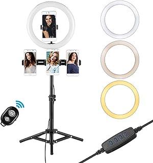 مجموعة بث الفيديو من أندوير مع 10 بوصة LED حلقة مضيئة برأس كروي ثلاثي القوائم مصراع عن بعد مع 4 حوامل للهاتف
