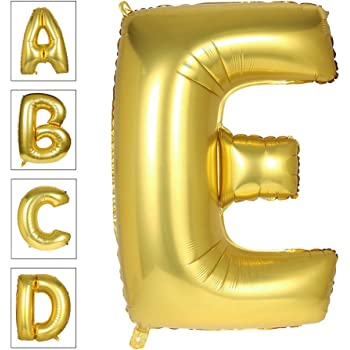 Lovne 40 Inch Jumbo Gold Alphabet E Balloon Giant Prom Balloons Helium Foil Mylar Huge Letter Balloons A to Z for Birthday Party Decorations Wedding Anniversary
