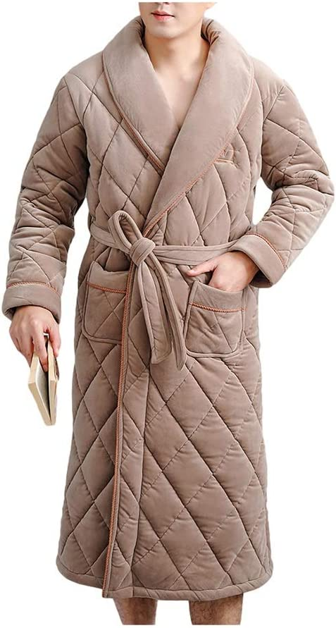 Robe Shower Men's Soft Plush Robe Shawl Full Length Long Bathrobe Plush Soft Warm Home Bathrobe Shaggy Robe Kimono Gowns (Color : Brown, Size : XX-Large)