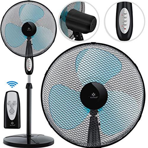 KESSER® - Standventilator mit Fernbedienung, Timer Standlüfter - Oszillationsfunktion 80 Grad, 50W - 3 Geschwindigkeitsstufen, höhenverstellbarer Ventilator Standfuß - Neigungswinkel verstellbar