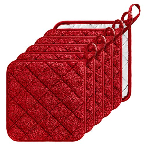 GROBRO7 6Pcs 100% Cotton Quilted Terry Oven Set Pot Holders Heat Resistant Multipurpose 7'x7' Hot Pads with Hanging Loop Durable Machine Washable Oven Mitts for Daily Kitchen Baking and Cooking Red