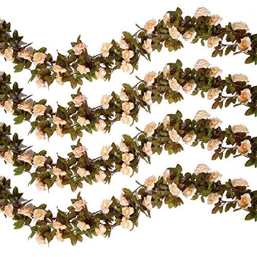 Pauwer 4PCS/29.5FT Künstliche Rose Blume Girlanden Gefälschte Hängende Blumen Girlande Seidenblumen Reben für die Heim Garten Wände Hochzeit Dekoration
