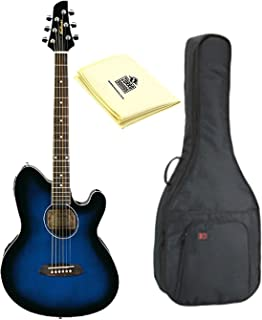 Ibanez TCY10ETBS Talman Acoustic-Electric Guitar, Transparent Blue Sunburst with Kaces KQA-120 - Kaces GigPak Acoustic Guitar Bag and Custom Designed Instrument Cloth