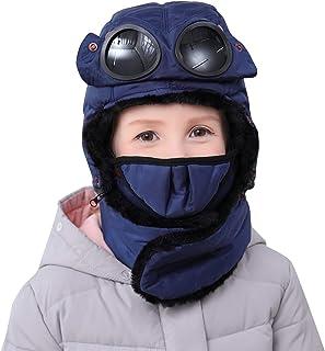 Jelord Gorro de Aviador Diseño con Gafas Mascarilla de Protección Gorros Bebé Niño Niña Invierno Caliente Sombrero Aviador...