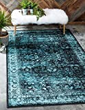 Unique Loom Imperial Istanbul Collection Blue Area Rug (4' x 6'), 4 x 6 Feet, Black/Turquoise