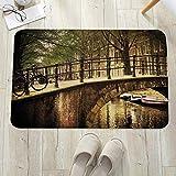 Alfombrilla de baño antideslizante, para baño o ducha,Paisaje, Puente romántico sobre el Canal de Amsterdam Países B, alfombra de suelo absorbente, para sala de estar, sofá, cojín, caucho, 60 x 100 cm