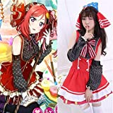 BELUNOT Love Live Maki Nishikino Candy Maid Cosplay Costume Princess Lolita Dress Meidofuku (Dress + Headwear + Bow tie + Oversleeve) One Size