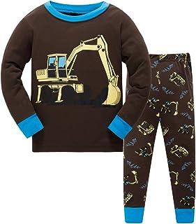 DAWILS Pijama Niño Pijamas de Coche Camión Tractor Excavador Camión de Bomberos Autobús Grua para Niños 2 Piezas Manga Lar...