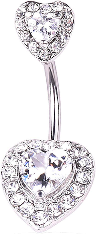 erDouckan Fashion Creative Body Piercing Jewelry for Women Men Heart Shape Rhinestone Women Navel Bar Barbell Belly Button Ring Piercing Jewelry
