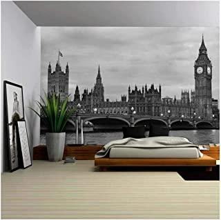 wall26 - Westminster Bridge with Big Ben in London, Black and White Version. - Removable Wall Mural | Self-Adhesive Large Wallpaper - 100x144 inches
