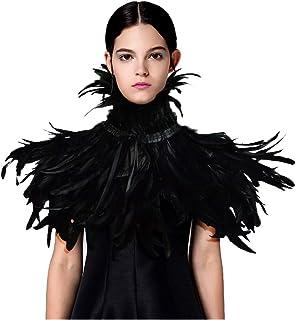L'VOW Fashion Feather Cape Stole Black Shrug Shawl Poncho Iridescent