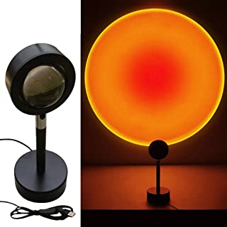 Sunset Projector Lamp Rainbow Projection Lamp Led,180 Degree Rotation,Romantic Visual Led Light and Modern Floor Stand with USB,Adjustable Sunlight Lamp for Home Party Bars BBQ Decor(Sunset Red)