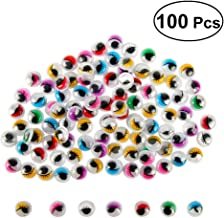 NUOBESTY 100pcs Wiggle Googly Eyes and Lashes 15mm Assorted Color Lids Toys for DIY Craft Scrapbooking Accessories Doll Making Toys Eyes