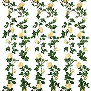 SHACOS Artificial Rose Garlands Rose Vines Leaves Hanging Rose Flower Vine Home Wedding Party Decor
