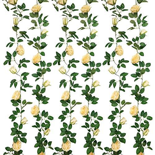 SHACOS Artificial Rose Garlands Rose Vines Leaves Hanging Rose Flower Vine Home Wedding Party Decor (Deep Champagne, 2)