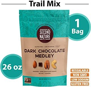 Second Nature Dark Chocolate Medley Trail Mix - Healthy Nuts Snacks Blend - 26 oz Resealable Pouch