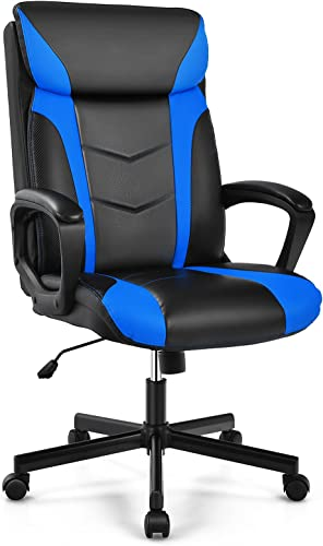 discount Giantex PU Leather Executive Chair, Ergonomic Adjustable Office Desk Chair, Padded Armrest, outlet online sale Swivel Task Chair High Back Racing Computer Gaming Chair Ideal for Studying Working Gaming high quality (Blue) online