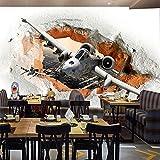 MGQSS Mural Fotos Papel pintado Fotos Avión de dibujos animados rompiendo la pared Auto-adhesivo PVC Papel pintado 3D Vintage Peluquería Salón de pelo Pelo de la belleza Fondo Mural (W)250x(H)175 cm