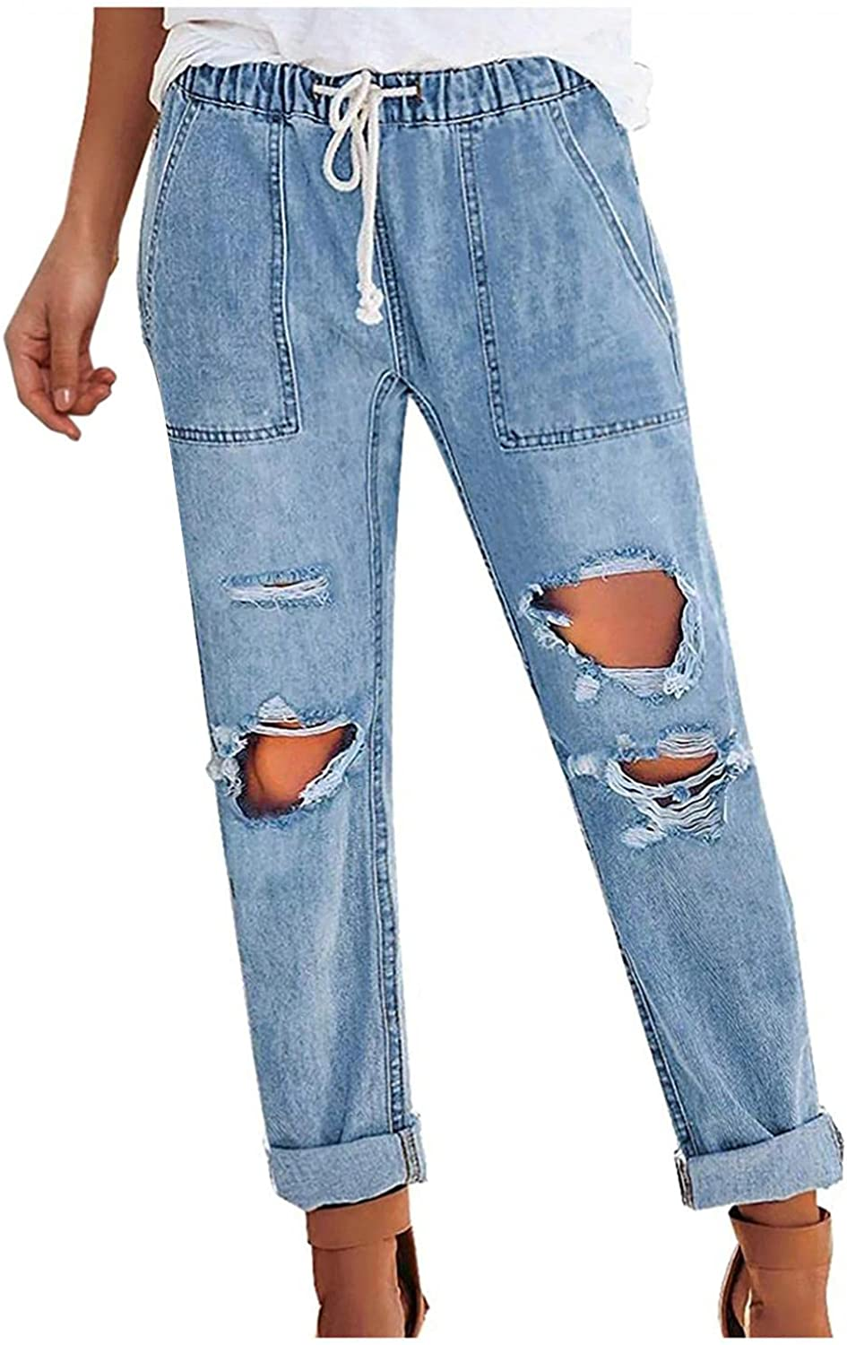 WOSHUAI Women's Denim Trousers Retro 90S Y2K Ripped Boyfriend Jeans Cute Distressed Jeans Stretch Skinny Jeans with Hole