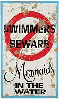 Mermaid Warning Tin Sign 15 x 9in