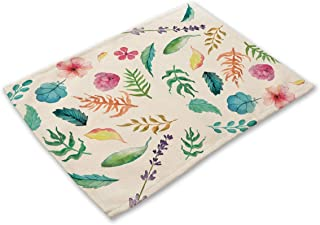 Simmia Home Washable Table Place Mats Set of 6, Heat Insulation Non-Slip Cotton and Linen Placemats for Kitchen and Dining Room Fresh Green Leaves MP0014-6
